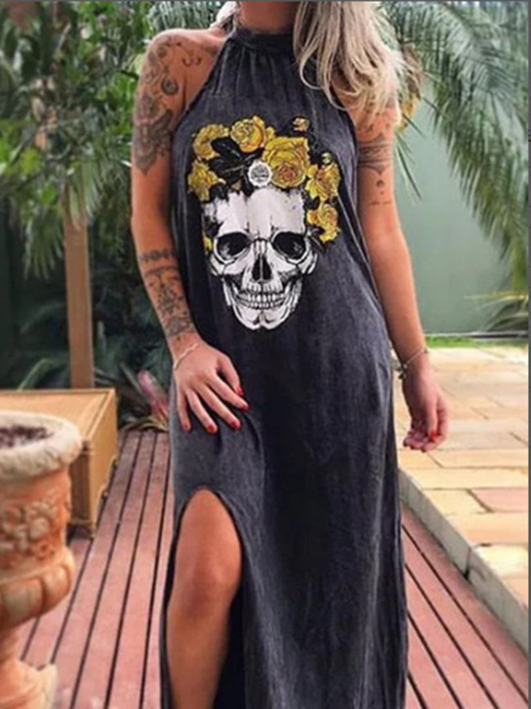 Woman Black Skull Printed Halter Street Summer Dresses