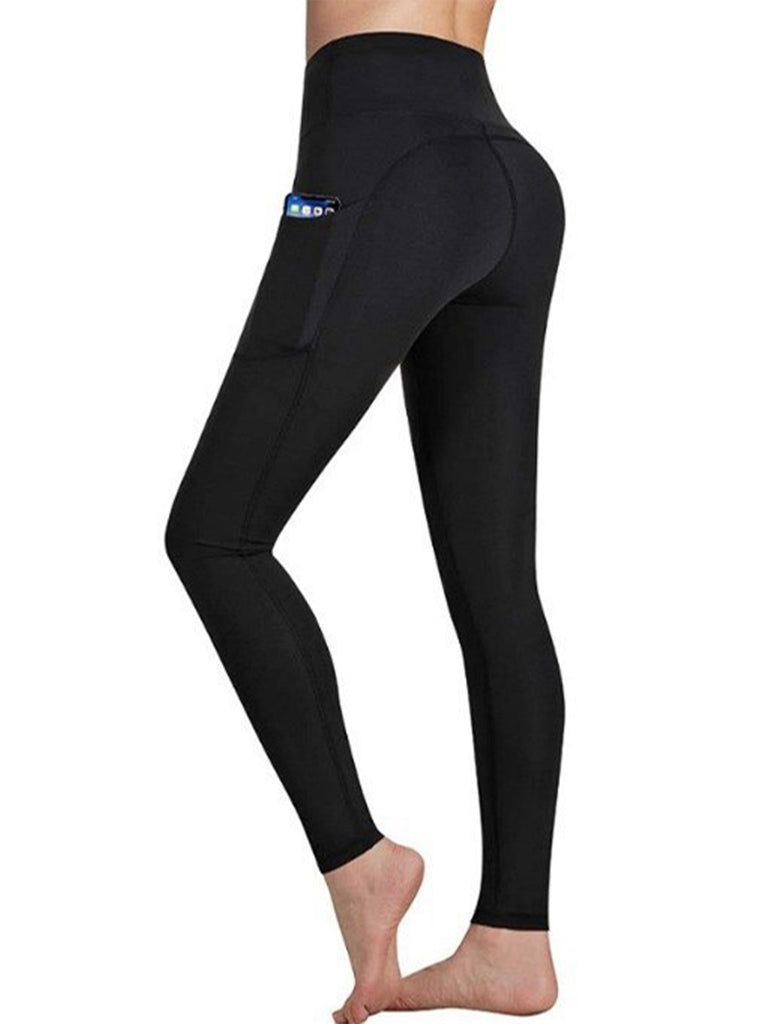 Women High Waist Solid Color Polyester Running Sweatpants with Pockets