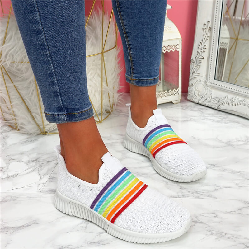Women Flyknit Fabric Rainbow Slip On Flat Heel Sneakers