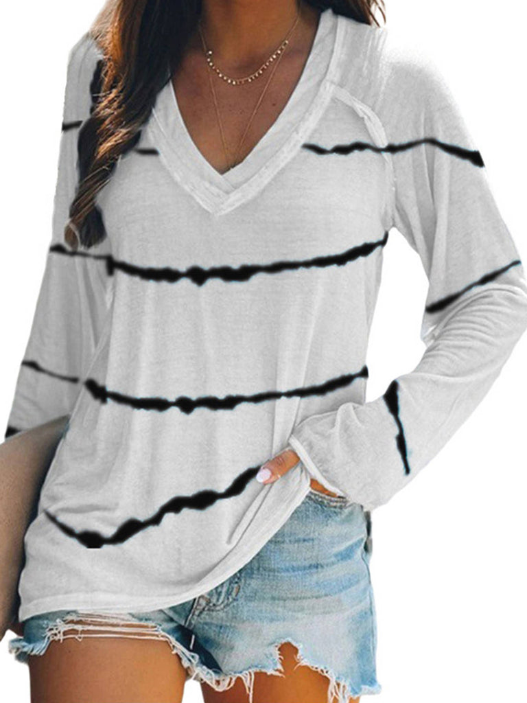 Women Stripes Printed V neck Casual Long sleeve T-shirt