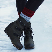 Load image into Gallery viewer, Women Winter Fashion Wedge Heel Lace-up Boots