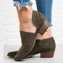 Load image into Gallery viewer, Hollow-out Low Heel Cutout Booties Faux Suede Zipper Ankle Boots-shoeri