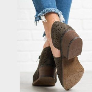 Hollow-out Low Heel Cutout Booties Faux Suede Zipper Ankle Boots-shoeri