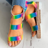 Women Plus Size Multicolor Elastic Band Creepers Sandals