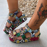 Level Up Multicolor Snakeskin Street Platform Sandal