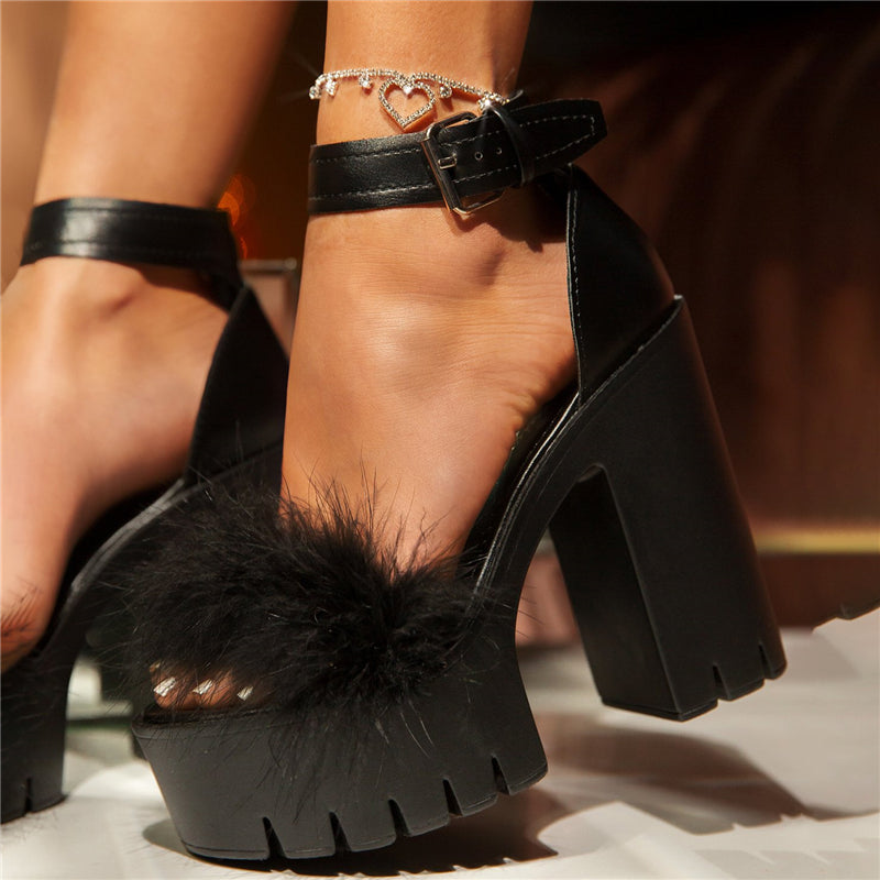 Women Large Size Fluff Buckle Platform Sandals