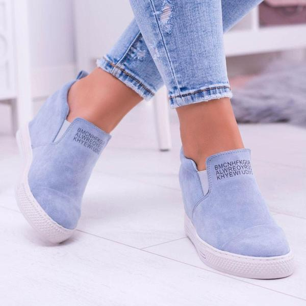 Letter Slip On Faux Suede Wedge Heel Sneakers-shoeri