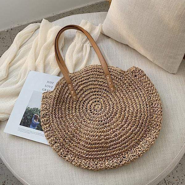Obangbag 01 / brown Woven Round Circle Ladies Bohemian Fashion Summer Straw Beach Bag Handbag