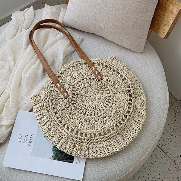 Obangbag 02 / white Woven Round Circle Ladies Bohemian Fashion Summer Straw Beach Bag Handbag