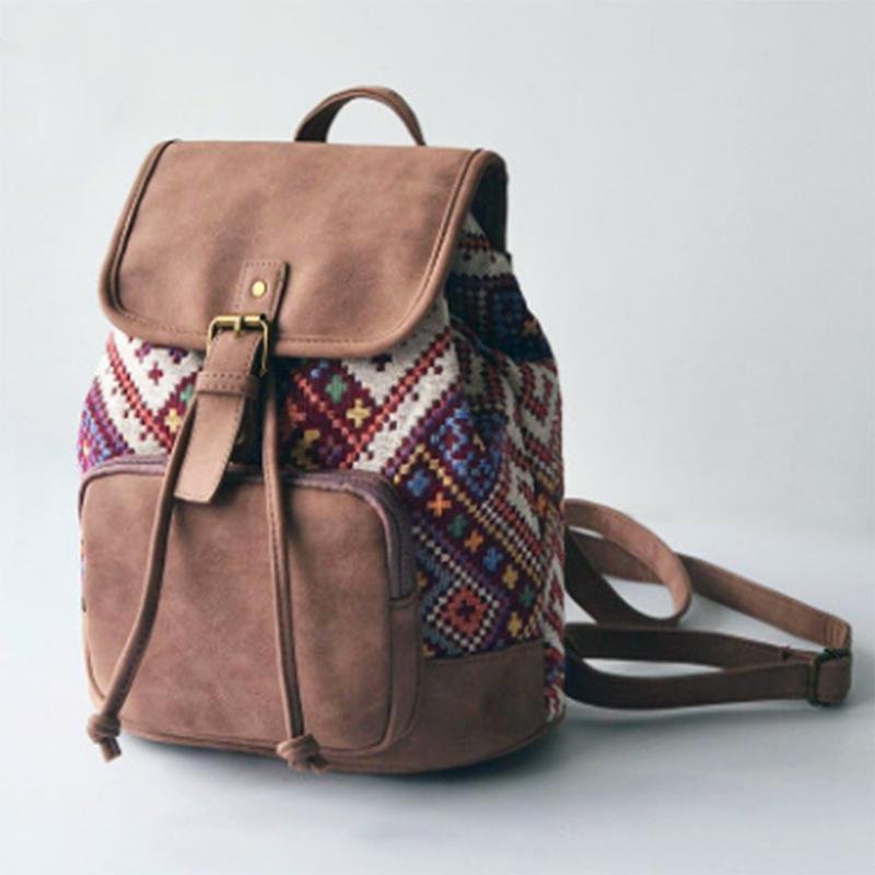 Obangbag Chocolate square Patchwork National String Linen large Pockets Handmade Backpack
