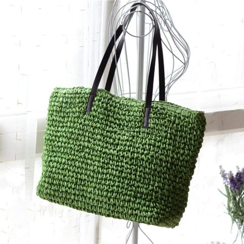 Obangbag Green Women Summer Stylish Straw Woven Large Beach Tote Bag