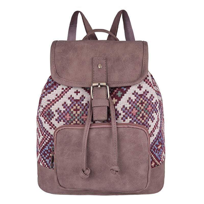 Obangbag Purple Patchwork National Women Large Capacity Beach Travel Linen Canvas Leather Backpack
