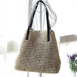 Obangbag White Women Summer Stylish Straw Woven Large Beach Tote Bag