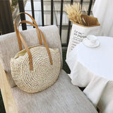 Obangbag Woven Round Circle Ladies Bohemian Fashion Summer Straw Beach Bag Handbag