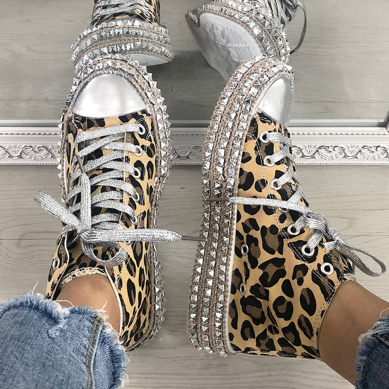 Women's Leopard Cheetah Rivets with Low/High Top Sneakers