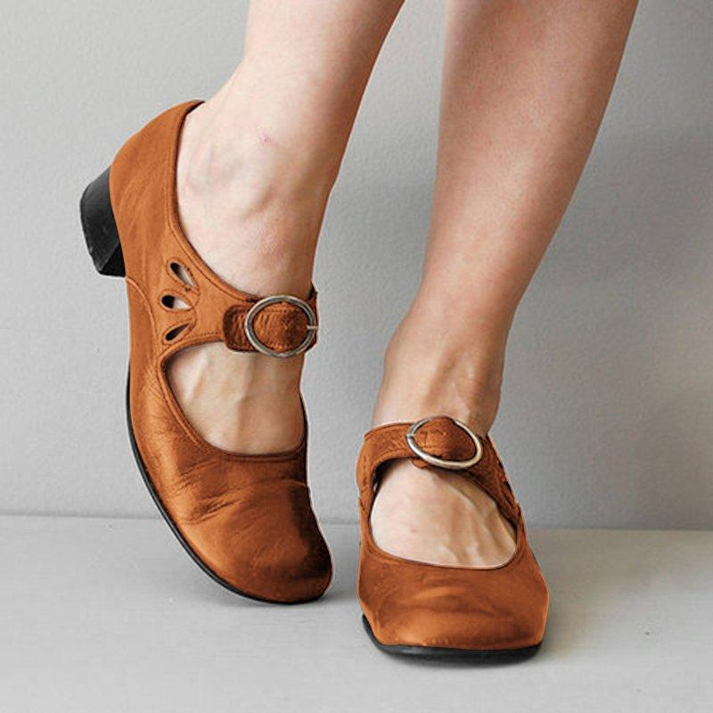 Woman Summer Low Heel Vintage Shoes-shoeri