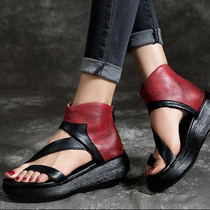 Women Casual Ankle Strap Zip Flat Fashion Outdoor Sandals-shoeri
