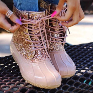 Women Casual Lace-up Sparkling Glitter Rain Boots-shoeri