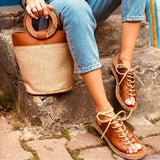 Women Casual Summer Lace Up Slide Sandals-shoeri