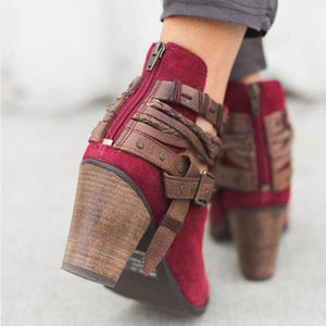 Women Flocking Booties Casual Adjustable Buckle Shoes-shoeri