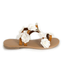 Load image into Gallery viewer, Womens Beach White Summer Pu Flower Sandals-shoeri