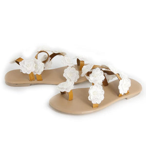 Womens Beach White Summer Pu Flower Sandals-shoeri