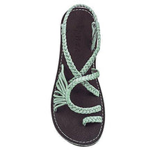 Load image into Gallery viewer, Women's Crochet Knotted Flat Toe Sandal-shoeri