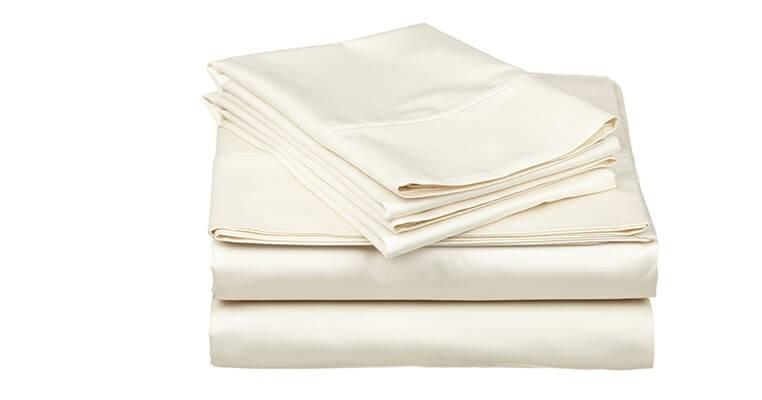 400-thread count sateen sheets are complete with 2 Pillowcases, 1 Fitted sheet, 1 Flat sheet. Made from 100% organic cotton
