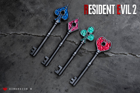 Raccon City Police Station Keys - Resident Evil 2 - Spade Club Heart and Diamond Remake Edition 2019