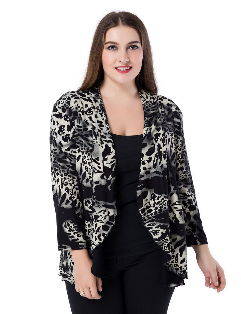 Chicwe Women S Waterfall Open Front Plus Size Printed Casual Cardigan Jacket