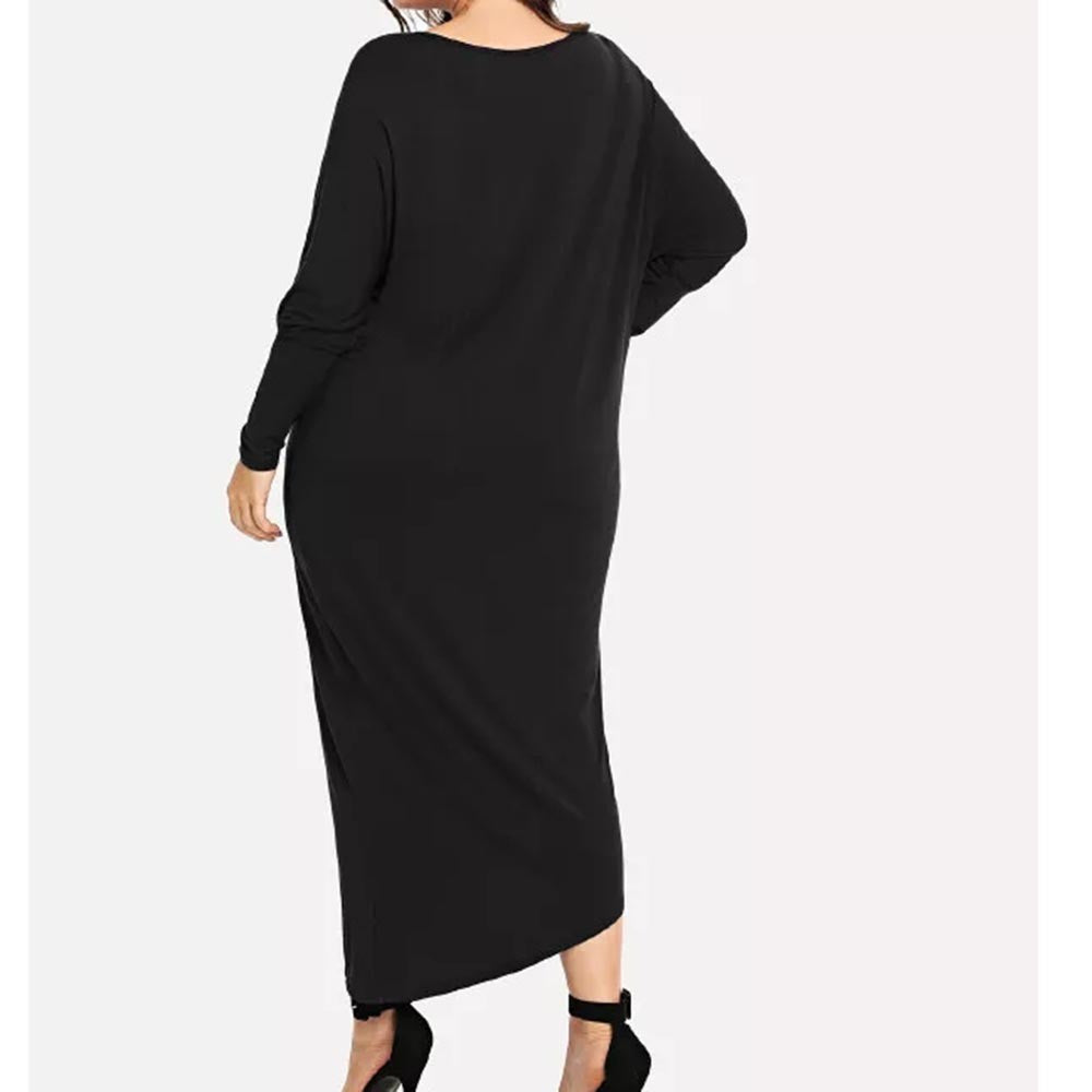 3ab61d5cfc11 Womens Plus Size O-Neck Solid Long Sleeve Loose Dress Long Maxi Dress.  Hover to zoom