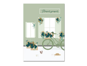 poster fleuri avec maison et vélo - collection flower power - green and paper