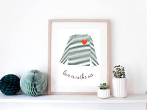 Affiche mariniere verte avec coeur rouge - affiche love is in the air - cadeau de mariage Green and Paper
