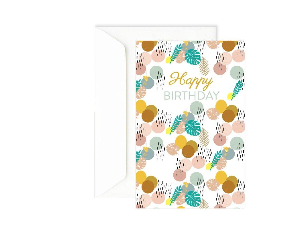 Carte anniversaire ballon - Carte double colorée - Happy Birthday - Green and Paper