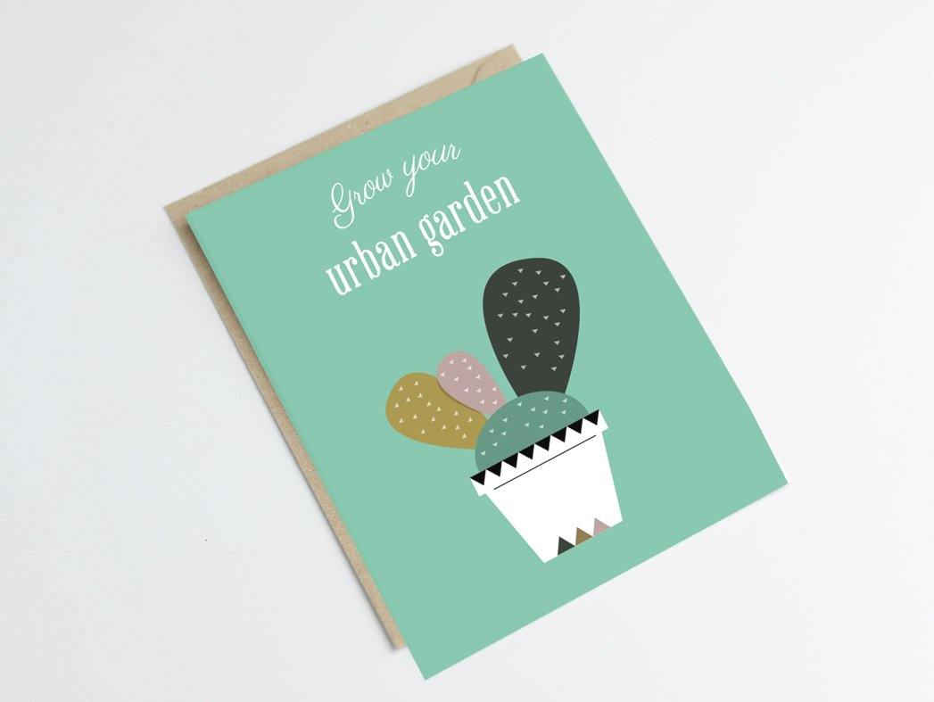 Carte postale cactus - Green and Paper