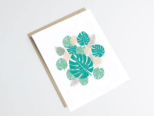 Carte postale feuilles - inspiration monstera tropical - Green and Paper