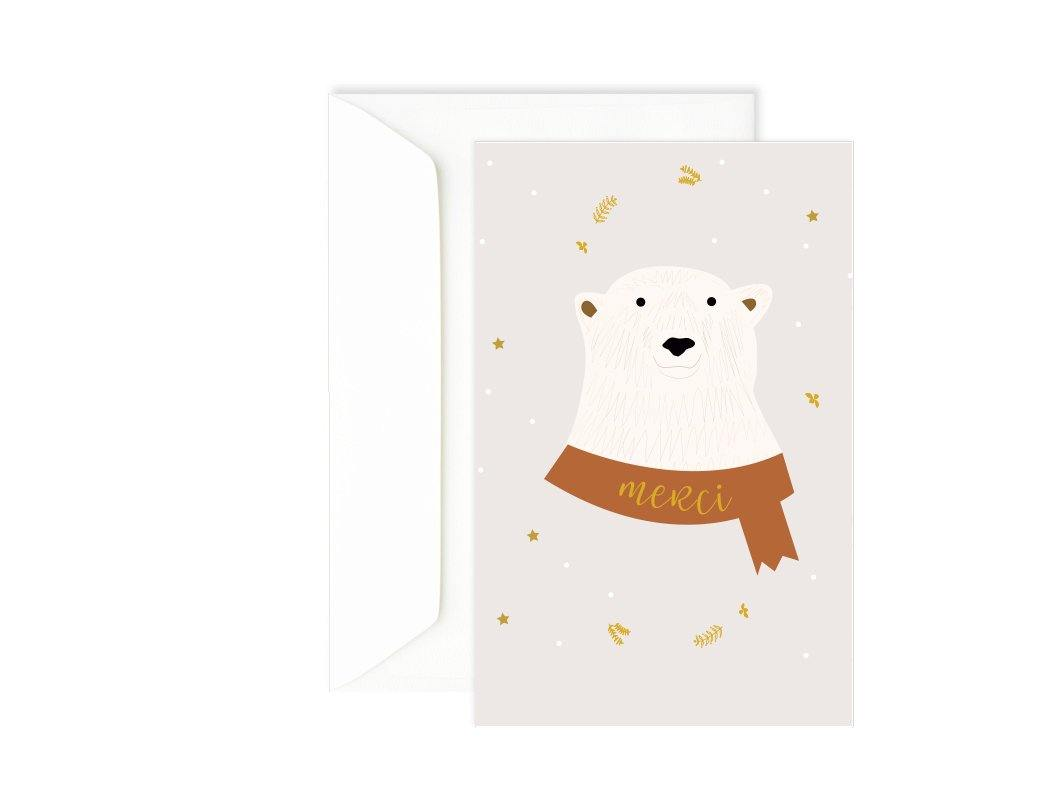 Carte double merci ours polaire - Green and Paper