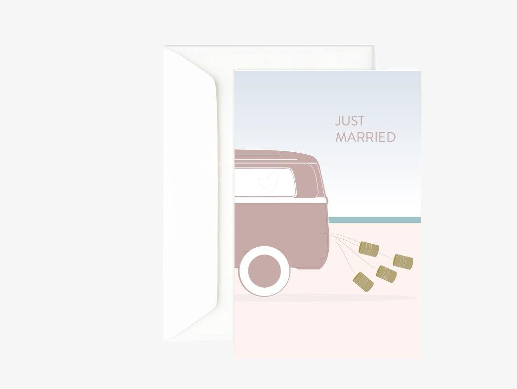 Carte double just married - carte mariage - carte cadeaux - Green and Paper