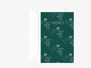 Carte merci verte et rose  - Carte double - Carte de remerciement - Green and Paper