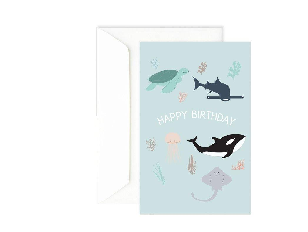 Carte anniversaire animaux marins - Carte double - Carte Happy Birthday