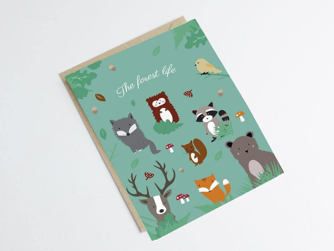 Carte postale animaux de la forêt - Green and Paper