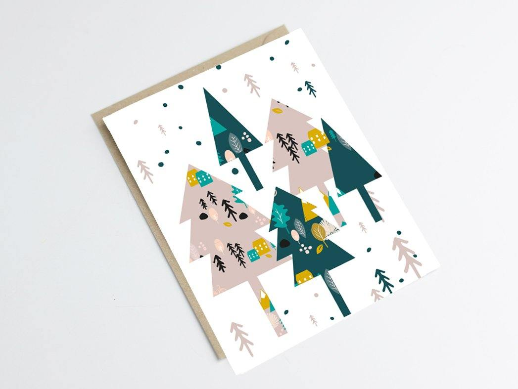 Carte postale sapins - motif hiver scandinave - Green and Paper