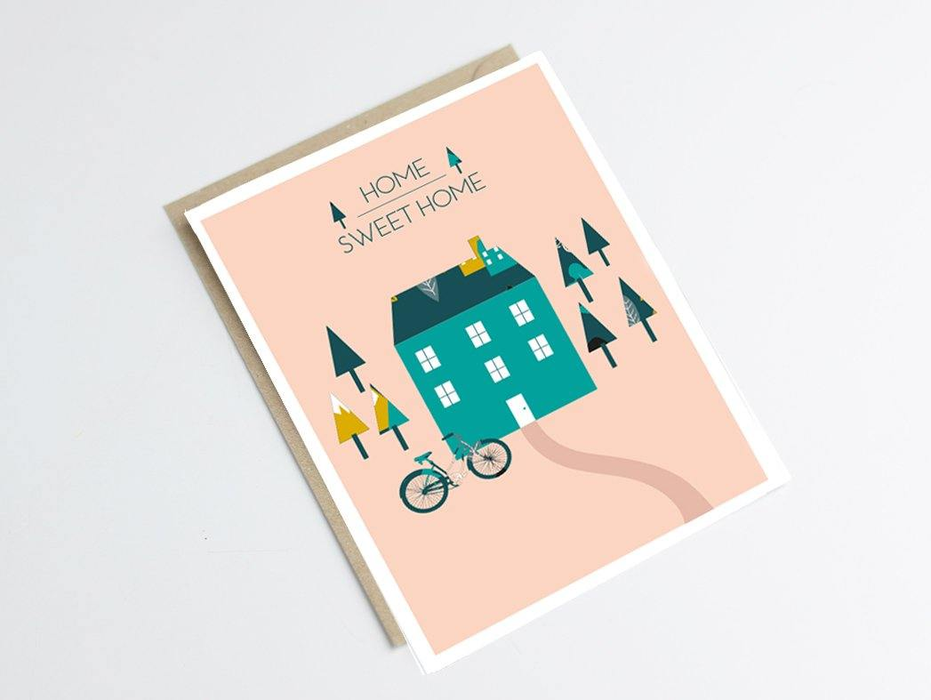 Carte postale home sweet home - Green and Paper