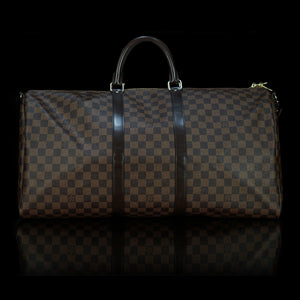 Louis Vuitton-Keepall-EBENE BN DAMIER-Colour: Ebene-Brown 12.2 x 9.4 inches ( height x width ) Coated Canvas Natural Cowhide Leather trimmings Cotton Textile Lining Removable strap with shoulder patch Golden brass pieces Double zip closure Rounded leather handles Padlock Cabin size-fabriqe.com