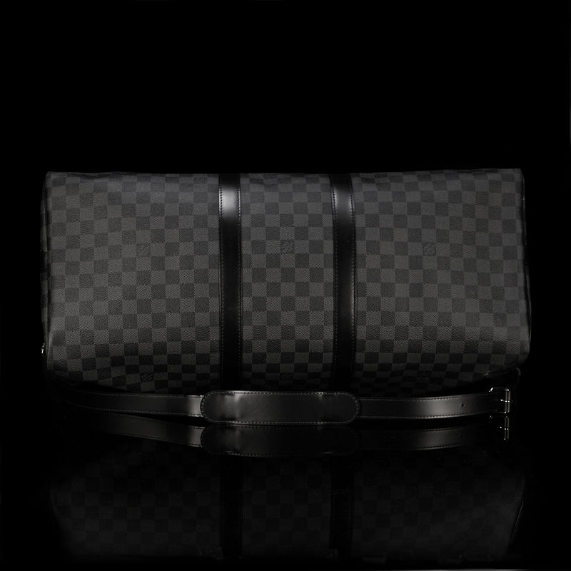 Louis Vuitton-Keepall-EBENE BN DAMIER-1-Colour: Graphite-Grey Black 12.2 x 9.4 inches ( height x width ) Coated Canvas Natural Cowhide Leather trimmings Cotton Textile Lining Removable strap with shoulder patch Silver brass pieces Double zip closure Rounded leather handles Padlock Cabin size-fabriqe.com