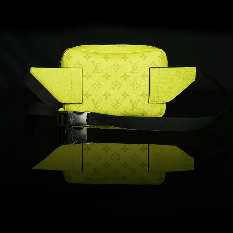 Louis Vuitton-Bumbag-8.27 x 6.69 x 1.97 inches ( length x height x width ) 20.8 x H 16.7 x W 5 cm/L 8.2 x H 6.6 x W 2.0 inches Lime Green Taïga cowhide leather and Monogram Bahia coated canvas Cowhide leather trim Textile lining Silver-colour hardware Adjustable textile and leather strap Central zipped compartment Front zipped pocket Buckle fastener-fabriqe.com