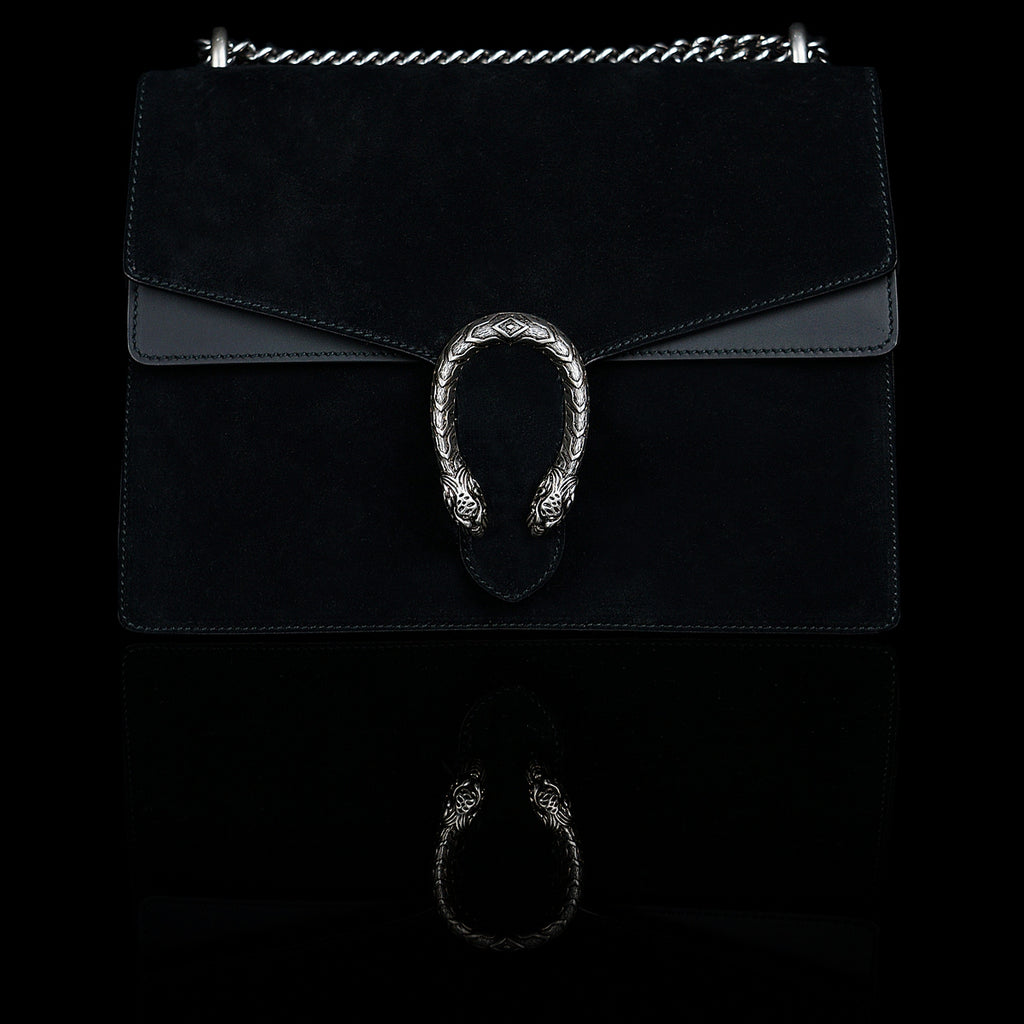 Gucci-Dionysus Shoulder Bag-Black Suede , a material with low environmental impact. Antique silver-toned hardware Tiger head closure Interior zippered compartment Pocket under the flap External rear pocket Sliding chain strap can be worn as a shoulder strap with 35 drop or can be worn as a top handle with 22 drop Medium size: W30cm x H21cm x D10cm Leather lining with interior pockets Made in Italy The model is 178 cm-fabriqe.com