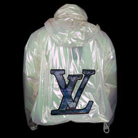 Louis Vuitton-Windbreaker-Colour: Iridescent Style: Windbreaker Material: Transparent Iridescent PVC Virgil Abloh SS19 exclusive pop up item Zipper front Back LV large logo Beaded patches Zippers along front Drawstring bottom Made in Italy-fabriqe.com