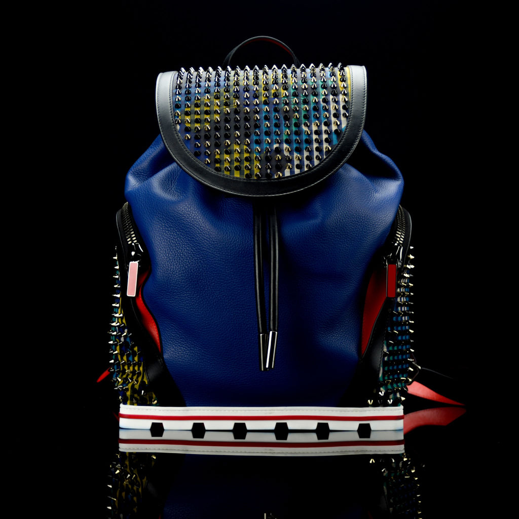 Christian Louboutin-Backpack-BL SPIKES-Leather Outer Metal Spikes Magnetic Closure Rubber Bottom-fabriqe.com