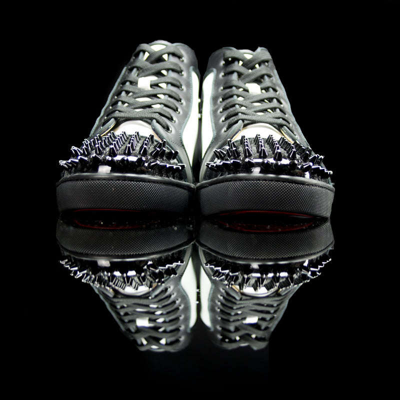 Christian Louboutin-Louis Flat High Spiked Toe-Product Code: 1150410 Colour: White, Black 2014 Release, Discontinued Material: Leather, Patent, Crystal Spikes-fabriqe.com